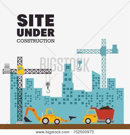 site under construction with building and machinery vector illustration eps 10