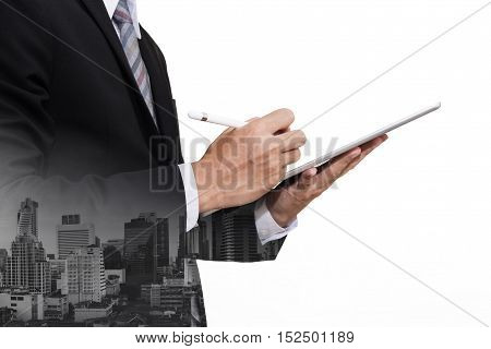 Businessman Working on Digital Tablet, isolated on white background with copy space