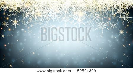 Blue winter luminous banner with snowflakes. Vector illustration.