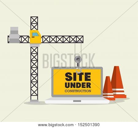 construction crane and cone site under construction vector illustration eps 10