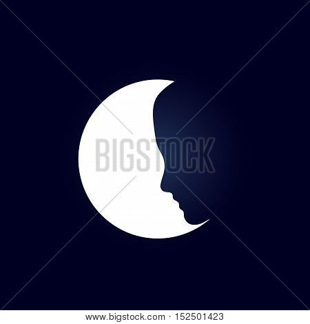 Vector sign girl and the moon in black sky