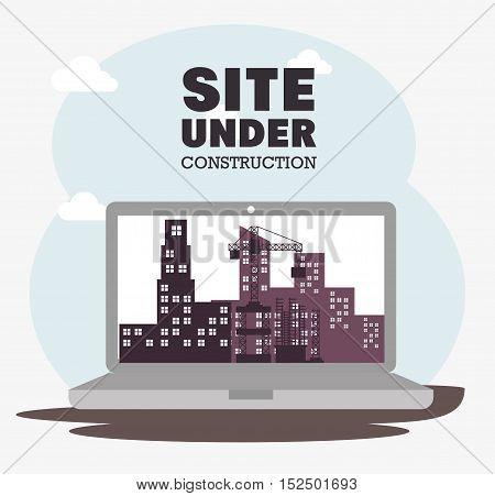 laptop site under construction icon vector illustration eps 10