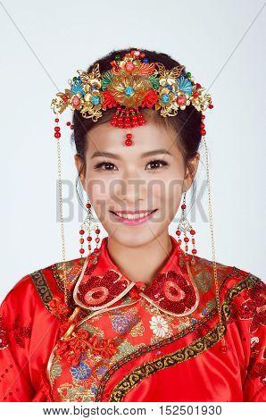 Chinese Bride looking at Camera