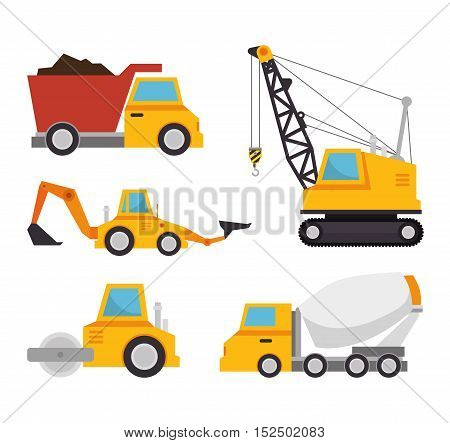 collection truck construction concept design vector illustration eps 10