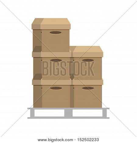 boxes pile warehouse service vector illustration design