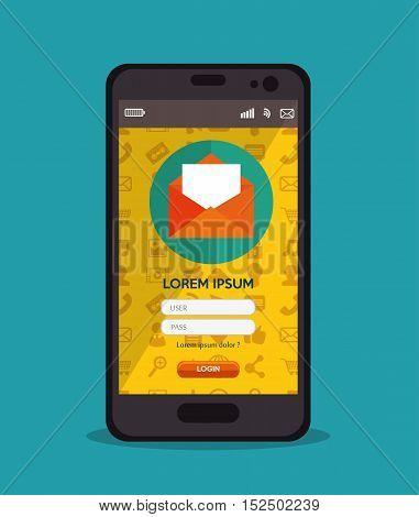 cellphone login message design vector illustration eps 10
