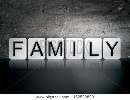 Family Tiled Letters Concept And Theme