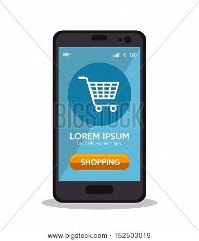 shopping cart online smartphone virtual app vector illustration eps 10