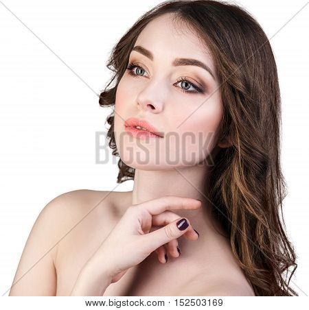Portrait of beautiful woman with fresh daily makeup and perfect skin.