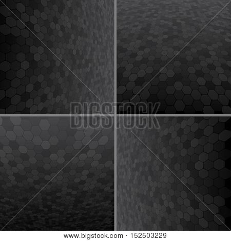 Set Abstract Honeycomb Halftone Effect Vector Background. Perspective Halftone Vector Background. Vector Background with Copy-Space. Black Perspective Background. Vector illustration for Web Design.