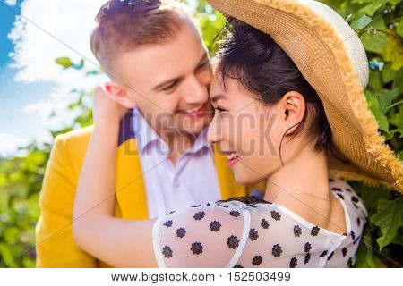 Close-up of happy loving couple outdoors