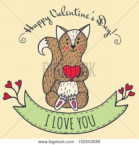 Greeting card for Valentine's Day with fox and heart. Vector Illustrated card.