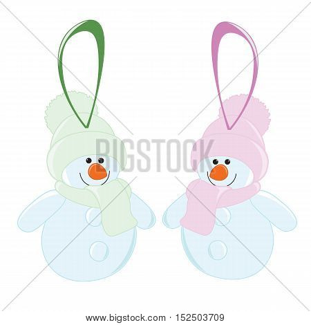 Two Cartoon Christmas toy snowman in hat and scarf.