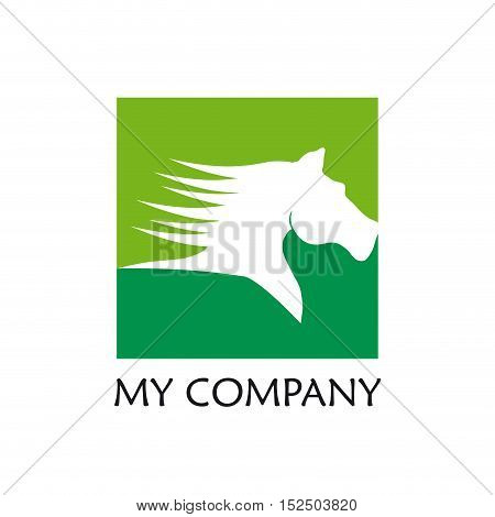 Vector sign green horse, illustration isolated in white