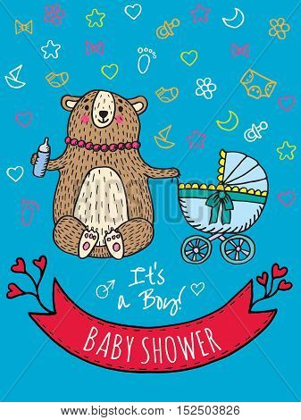 Baby shower invitation card with bear mother. Vector Illustrated card.