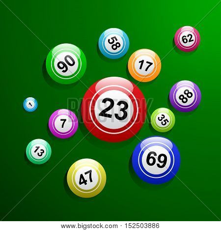 Vector bingo ball background, ball and numbers in green