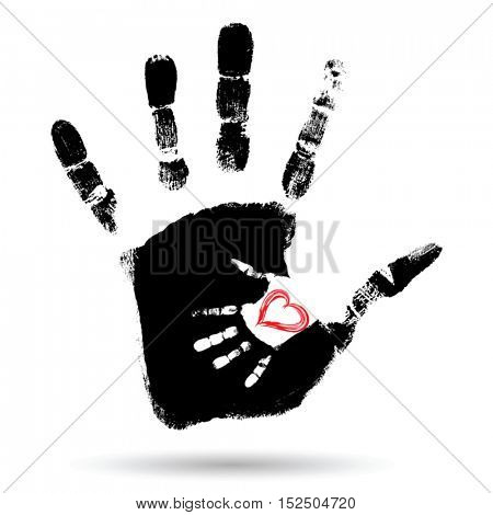 Vector concept conceptual cute paint hand of mother child and heart shape isolated on white background for art, care, childhood, family, fun, happy, infant, symbol kid little love mom motherhood young