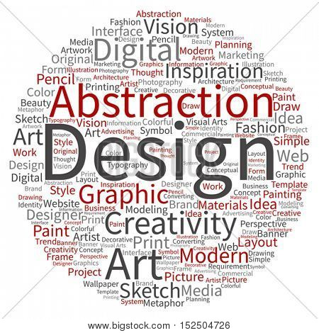 Vector concept or conceptual creativity art graphic design circle word cloud isolated on background metaphor to advertising, decorative, fashion, identity, inspiration, vision, perspective or modeling
