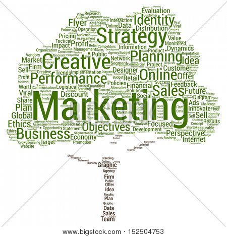 Vector concept or conceptual business marketing tree word cloud isolated on background