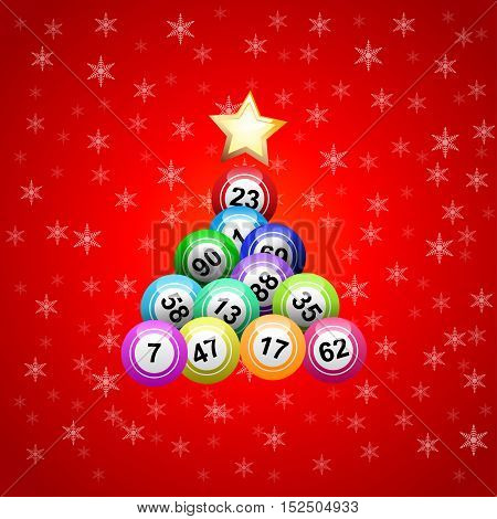 Vector christmas tree with bingo balls on red