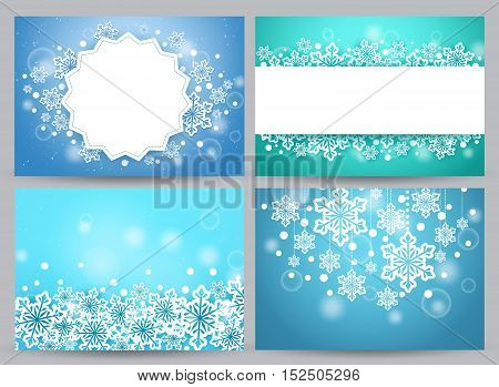 Winter backgrounds and banners vector set with snow flakes and empty white space for text and greetings in blue. Vector illustration