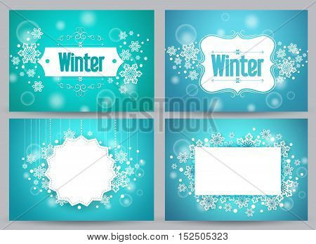 Winter banners and backgrounds vector bundle with designs of snowflakes and space for text in blue. Vector illustration.