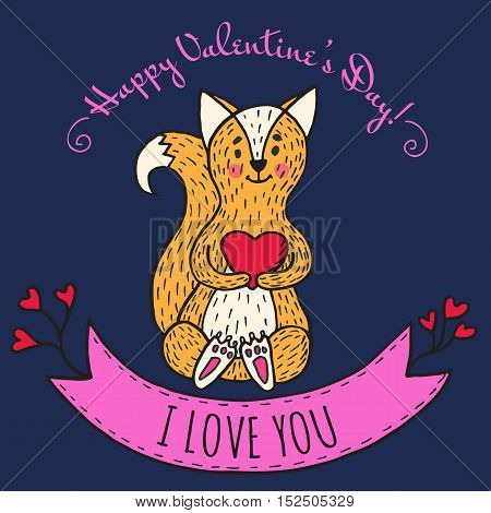 Greeting card for Valentine's Day with teddy bear and violin. Vector Illustrated card.