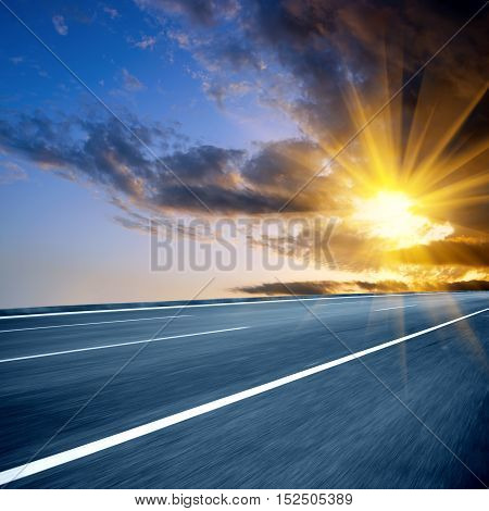 At dusk highway modern transportation fantasy landscape exaggerated expression.