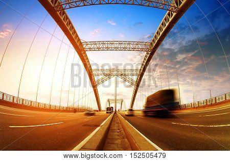 Trucks quickly bridge through modern transport hubs.