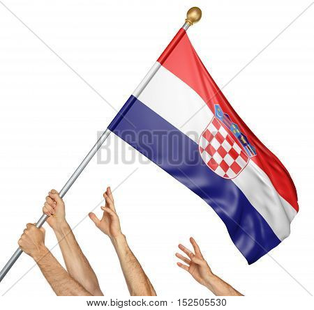 Team of peoples hands raising the Croatia national flag, 3D rendering isolated on white background