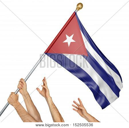 Team of peoples hands raising the Cuba national flag, 3D rendering isolated on white background
