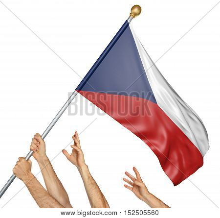 Team of peoples hands raising the Czech Republic national flag, 3D rendering isolated on white background