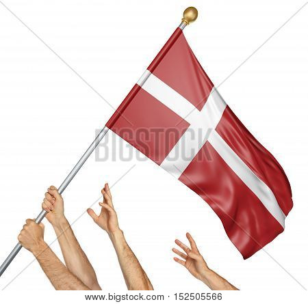 Team of peoples hands raising the Denmark national flag, 3D rendering isolated on white background