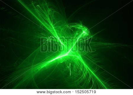 set 7 green glow energy wave. lighting effect abstract background.