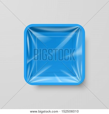 Empty Blue Plastic Food Square Container on Gray