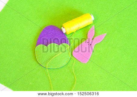 Sewing set for felt Easter egg and bunny. How to make toys