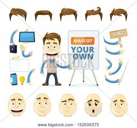 vector businessman creation kit. Cartoon business generator. Manager in different poses, emotions, and accessories. Isolate on white background