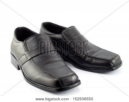 black leather shoes for men isolated on white background