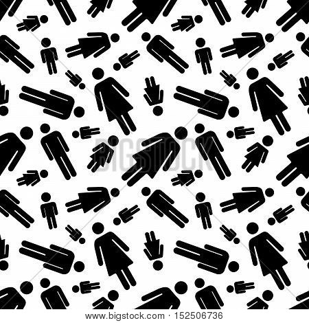 A lot of black simple men and woman icons on white, seamless pattern