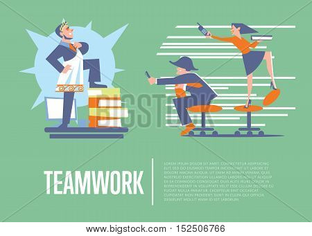 Big boss in roman toga and laurel wreath standing on office table before happy employees. Teamwork banner, isolated vector illustration on green background. Togetherness and collaboration concept