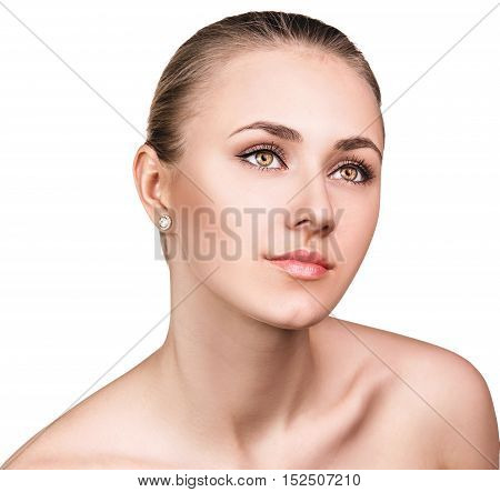 Beautiful woman face isolated over white background