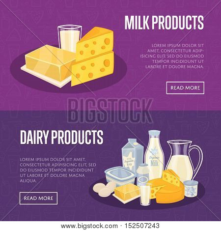 Dairy horizontal website templates with different milk products, vector illustrations with space for text. Healthy nutritious concept with butter, eggs, milk, yoghurt, cheese, kefir. Organic farming.