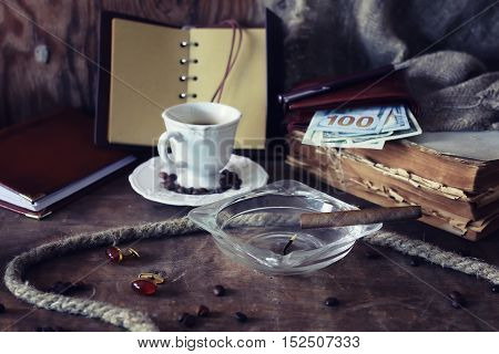 Vintage objects on old wooden shabby retro background concept