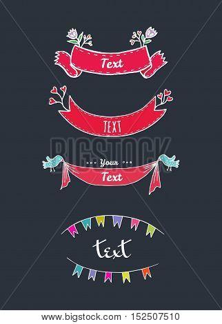 Romantic ribbon set in retro style. Vector illustrated tape border.