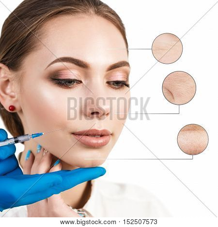 Cosmetic injection to the pretty female face with zoom circles. Isolated on white background