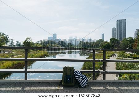 Chicago USA - September 25 2015: Two backpacks standing on the background of the Chicago skyline.