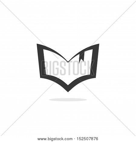 Book silhouette vector logo isolated on white background, outline open book shape icon, black and white creative emblem
