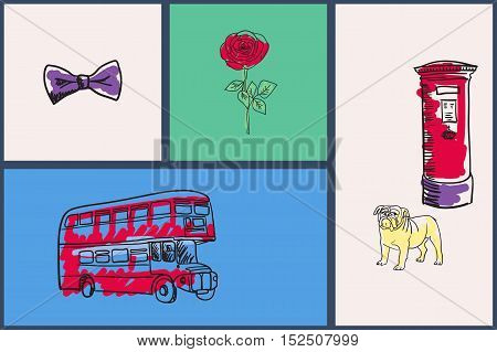 English national symbols. Bow tie, rose, double-decker bus, bulldog, post hand drawn vector illustrations on colored backgrounds set. For travel company ad, touristic concepts, web pages design. England vector art. England travel symbols.