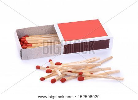 box of matches and group isolated on white
