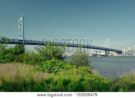 Benjamin Franklin Bridge between Philadelphia, Pennsylvania and Camden, NJ